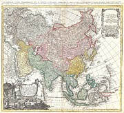 Asie Framed Prints - 1744 Homann Heirs Map of Asia  Framed Print by Paul Fearn
