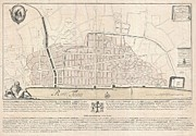 London City Map Framed Prints - 1744 Wren Map of London Framed Print by Paul Fearn