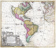To Dominate Prints - 1746 Homann Heirs Map of South and North America Print by Paul Fearn