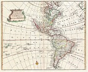 Another Time Photos - 1747 Bowen Map of North America and South America by Paul Fearn