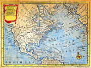 North Sea Paintings - 1747 Bowen Map of North America Geographicus NorthAmerica bowen 1747 by MotionAge Art and Design - Ahmet Asar