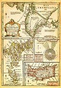 North Sea Paintings - 1747 Bowen Map of the North Atlantic Islands Greenland Iceland Faroe Islands Maelstrom Geographicus  by MotionAge Art and Design - Ahmet Asar