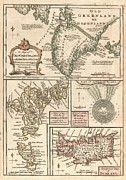 Map Of The Hand Posters - 1747 Bowen Map of the North Atlantic Islands Greenland Iceland Faroe Islands Poster by Paul Fearn