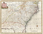 Chooses Prints - 1747 Bowen Map of the Southeastern United States Carolina Georgia Florida Print by Paul Fearn