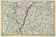 Alsace Framed Prints - 1747 La Feuille Map of Alsace France Framed Print by Paul Fearn