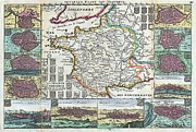 Amiens Framed Prints - 1747 La Feuille Map of France Framed Print by Paul Fearn