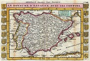 Northern Africa Framed Prints - 1747 La Feuille Map of Spain and Portugal Framed Print by Paul Fearn