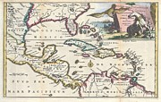 River.etc. Prints - 1747 Ruyter Map of Florida Mexico and the West Indies Print by Paul Fearn