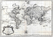 Cartography Photos - 1748 Antique World Map Versuch von einer Kurzgefassten Karte  by Karon Melillo DeVega