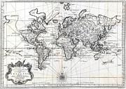 1748 Antique World Map Versuch Von Einer Kurzgefassten Karte  Print by Karon Melillo DeVega