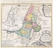Offers Prints - 1750 Homann Heirs Map of Israel  Palestine Holy Land  Print by Paul Fearn
