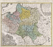 Couronne Posters - 1750 Homann Heirs Map of Poland  Poster by Paul Fearn
