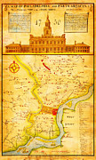 Philadelphia Painting Prints - 1752 1850 Scull Heap Map of Philadelphia Environs first view of Phillidelphia State House Geographic Print by MotionAge Art and Design - Ahmet Asar