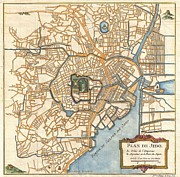 Itself Framed Prints - 1752 Schely Plan or Map of Edo or Tokyo Framed Print by Paul Fearn