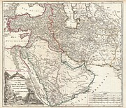 Undersea.  Prints - 1753 Vaugondy Map of Persia Arabia and Turkey Print by Paul Fearn