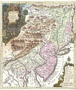 Rhode Island Map Prints - 1756 Lotter Map of Pennsylvania New Jersey and New York Print by Paul Fearn