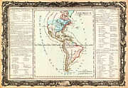 North Sea Paintings - 1760 Desnos and De La Tour Map of North America and South America Geographicus Amerique desnos 1760 by MotionAge Art and Design - Ahmet Asar