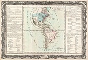 Just Right For; Posters - 1760 Desnos and De La Tour Map of North America and South America Poster by Paul Fearn