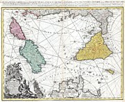 Northern Africa Posters - 1762 Homann Heirs Map of Sicily Sardenia Corsica and Malta Poster by Paul Fearn