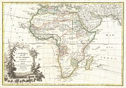 African Kingdoms Prints - 1762 Janvier Map of Africa Print by Paul Fearn