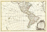 Not Thinking Prints - 1762 Janvier Map of North America and South America  Print by Paul Fearn