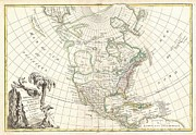 North American Inland Sea Framed Prints - 1762 Janvier Map of North America  Framed Print by Paul Fearn