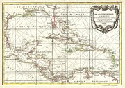 Nautical Chart Posters - 1762 Zannoni Map of Central America and the West Indies Poster by Paul Fearn