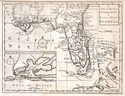 Between The Two Posters - 1763 Gibson Map of East and West Florida Poster by Paul Fearn