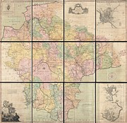 Druidic Framed Prints - 1765 Benjamin Donn Wall Map of Devonshire and Exeter England Framed Print by Paul Fearn