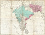 Dalrymple Prints - 1768 Jeffreys Wall Map of India and Ceylon Print by Paul Fearn