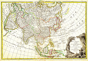 Vintage Map Paintings - 1770 Janvier Map of Asia Geographicus Asia janvier 1770 by MotionAge Art and Design - Ahmet Asar