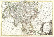 Map Of The Hand Posters - 1770 Janvier Map of Asia Poster by Paul Fearn