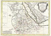Sudan Red Framed Prints - 1771 Bonne Map of Abyssinia Ethiopia Sudan and the Red Sea Framed Print by Paul Fearn