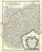 Adn Posters - 1771 Bonne Map of Languedoc and Roussillon France Poster by Paul Fearn