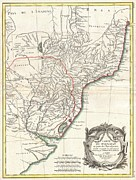 Offers Framed Prints - 1771 Bonne Map of Paraguay Uruguay and Brazil Framed Print by Paul Fearn