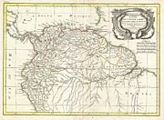 Lake 34 Posters - 1771 Bonne Map of Tierra Firma or Northern South America Poster by Paul Fearn