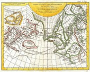Dominating Posters - 1772 Vaugondy and Diderot Map of the Pacific Northwest and the Northwest Passage Poster by Paul Fearn