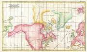 Repulse Art - 1772 Vaugondy and Diderot Map the North America illustrating Clunys Voyages by Paul Fearn