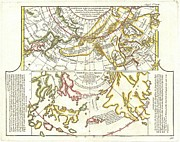 Two Sides Posters - 1772 Vaugondy Diderot Map of Alaska the Pacific Northwest and the Northwest Passage Poster by Paul Fearn