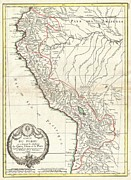 Lake 34 Posters - 1775 Bonne Map of Peru Ecuador Bolivia and the Western Amazon Poster by Paul Fearn