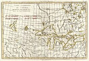 Another Time Photos - 1775 Bonne Map of the Great Lakes and Upper Mississippi  by Paul Fearn