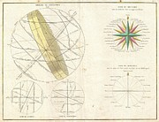Wall Chart Photos - 1775 Bonne Map or Chart of the Spheres and Compass Rose  by Paul Fearn
