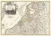 Offers Posters - 1775 Janvier Map of Holland and Belgium Poster by Paul Fearn