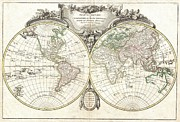 World Of Thought Metal Prints - 1775 Lattre and Janvier Map of the World on a Hemisphere Projection  Metal Print by Paul Fearn