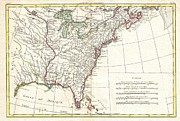 Just For Today Posters - 1776 Bonne Map of Louisiana and the British Colonies in North America Poster by Paul Fearn