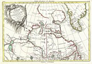 Reading The Paper Prints - 1776 Bonne Map of the Hudson Bay Canada Print by Paul Fearn