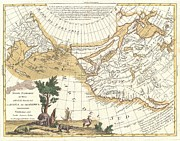 Days Go By Prints - 1776 Zatta Map of California and the Western Parts of North America Print by Paul Fearn