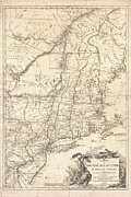Vermont Towns Prints - 1777 Brion de La Tour Map of New York and New England Revolutionary War Print by Paul Fearn
