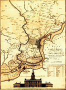 Hall Digital Art Framed Prints - 1777 Philadelphia Map Framed Print by Scull and Heap