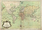Nautical Chart Posters - 1778 Bellin Nautical Chart or Map of the World Poster by Paul Fearn